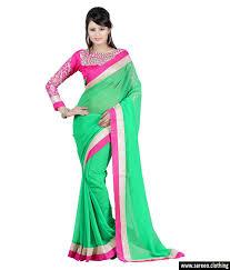 women chiffon green colour embroidey designer saree