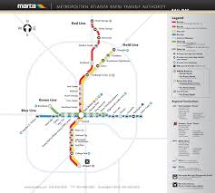 Metro Redline Map Official Map Atlanta Georgia Marta Rail Transit Maps