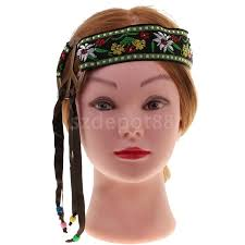 hippy headband online shop hippie headband peace sign flower embroidery tassel