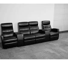 Reclining Chair Theaters Anetos Series 4 Seat Reclining Black Leather Theater Seating Unit