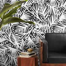 caymen black and white palm wallpaper in wallpaper reviews cb2