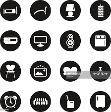 home interior icons black circle series vector art getty images
