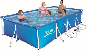 buy bestway 56424 swimming pool with frame steel