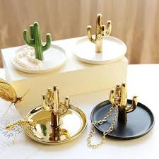 ceramic dish ring holder images Decorative cactus plate dish ceramic ring holder jewelery jpg
