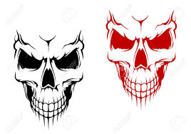 smiling skull in black and red versions for t shirt or halloween