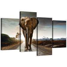 living room canvas canvas art of an african elephant for your bedroom 4 panel