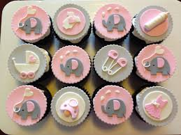cupcakes for baby shower pink and grey elephant cupcakes for baby shower custom cupcakes