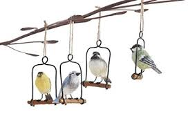 buy resin bird on metal perch ornaments set of 4 yellow blue white