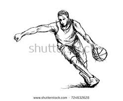 hand sketch basketball player vector illustration stock vector