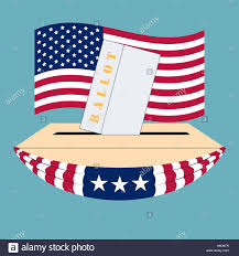 The Flag Of Usa United States Of America Election Box And Ballot On The