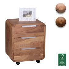 Schreibtisch Rollcontainer Finebuy Rollcontainer Massivholz Design Schubladenschrank Für