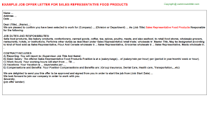 sales representative food products offer letter