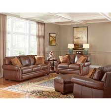 piedmont 4 piece top grain leather living room set