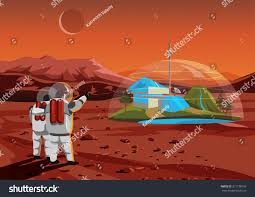 Space Home Space Home On Mars Base Humans Stock Vector 311138756 Shutterstock