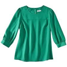 green womens blouse merona womens sleeve crew neck blouse green polyvore