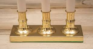 3 tier window candle brass plated base in auto sensor