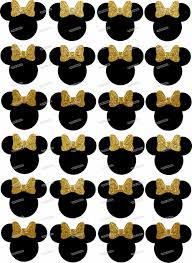 aliexpress buy 24 black minnie mouse gold bow tie edible