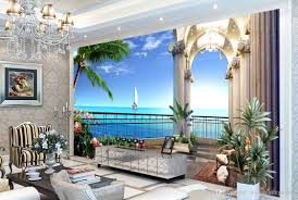 hd sea view picture painting 3d tv background wall mural 3d