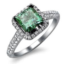 green diamonds rings images Green princess cut diamond engagement ring unusual engagement jpg