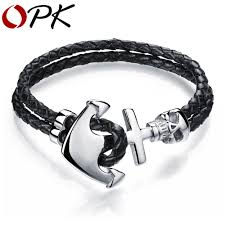 leather braided anchor bracelet images Fashion double leather anchor bracelets handmade leather braided jpg