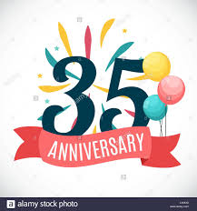 35 year anniversary anniversary 35 years template with ribbon vector illustration