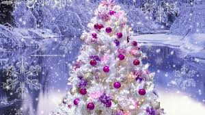 white tree pink purple ornaments on we it