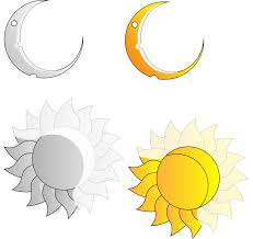 clipart rays and crescent moon and sun