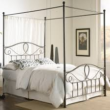 Single Bed Iron Frame Bedroom Classic Decoration With Wrought Iron Canopy Outstanding