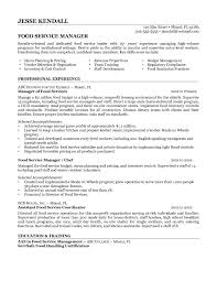 Resume Sample Customer Service Manager by Resume For Food Service Free Resume Example And Writing Download