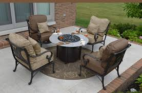Fire Patio Table by Amalia 4 Person Luxury Cast Aluminum Patio Furniture Chat Set W