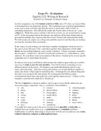 Evaluation Essay Format