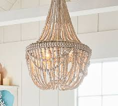 bead chandelier beaded chandelier pottery barn