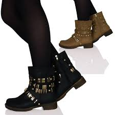 womens wide motorcycle boots womens ladies low heels flats biker boots shoes ankle studded gold