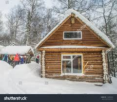 Russian Home House Snow Fairy Forest Wooden Home Stock Photo 714363754