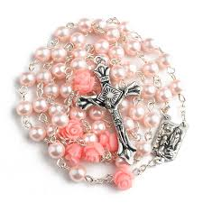 pink rosary beautiful pink pearl and roses holy rosary with lourdes