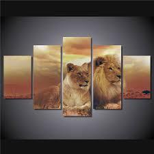 chambre de d馗ompression hd 5 pcs imprimé femle lions mâles imprimer chambre décor d