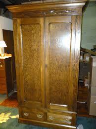 Armoires Wardrobe Antique Oak Wardrobe Armoire W Drawers Shelves Refinished
