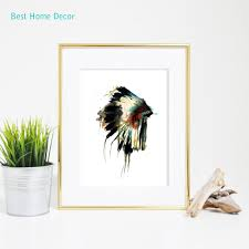 native indian american headdress art print feather wall art wall