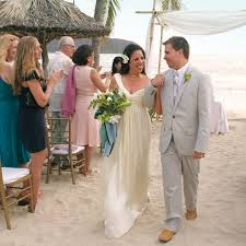 a navy and white destination wedding on the beach in mexico
