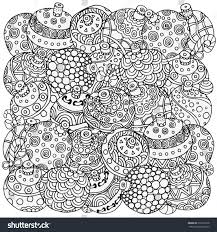 pattern coloring book christmas handdrawn decorative stock vector