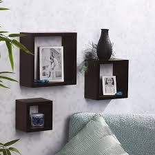 Wooden Gallery Shelf by Amazon Com Melannco Square Wood Shelves Set Of 3 Espresso Home