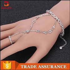 bracelet design with ring images Alibaba express turkey white gold bracelet design for girls silver jpg
