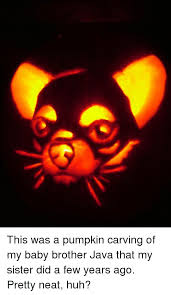 Pumpkin Carving Meme - this was a pumpkin carving of my baby brother java that my sister
