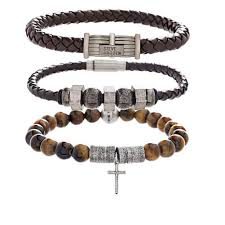 stainless mens bracelet images Steve madden set of 3 stainless steel men 39 s bracelets 8540481 hsn jpg