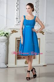 teal square chiffon bridesmaid dress knee length with belt