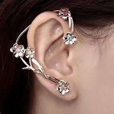 ear wraps right ear multicolor rhinestone flower ear wrap earring gold flow