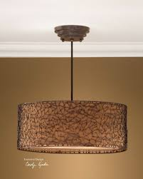 Drum Pendant Uttermost Brandon 3 Light Brown Drum Pendant 21153