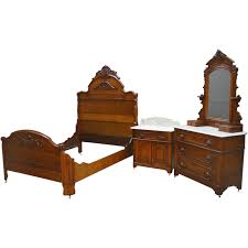 Eastlake Marble Top Bedroom Set Victorian Carved Oak Antique Bedroom Set Full Size Bed Also