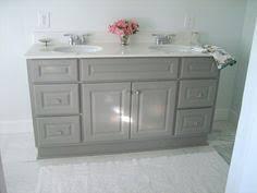Grey Vanity Bathroom by Diy Custom Gray Painted Bathroom Vanity From A Builder Grade