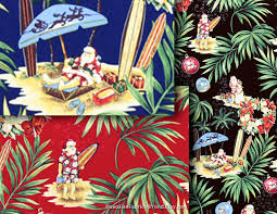 hawaiian fabric christmas cotton fabric santa claus in tropical